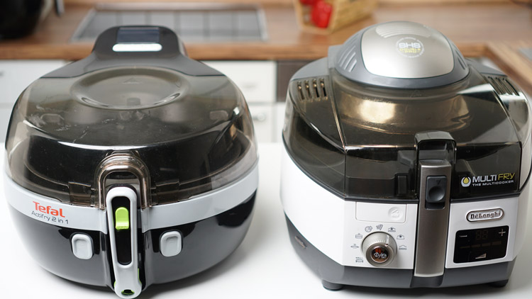 Von links nach rechts: Tefal Actifry 2in1 & DeLonghi MultiFry 1396